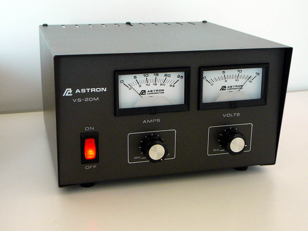<b>Astron Corporation VS-20M</b> (1994) : Figure 43 : Features separate Volt and Amp meters. Output Voltage adjustable from 1.8-14.8 Volts DC. Current limit adjustable from 1.5 Amp to full load. Continuous Duty 16A@13.8VDC, 9A@10VDC, 4A@5VDC. ICS 20A@13.8VDC. :