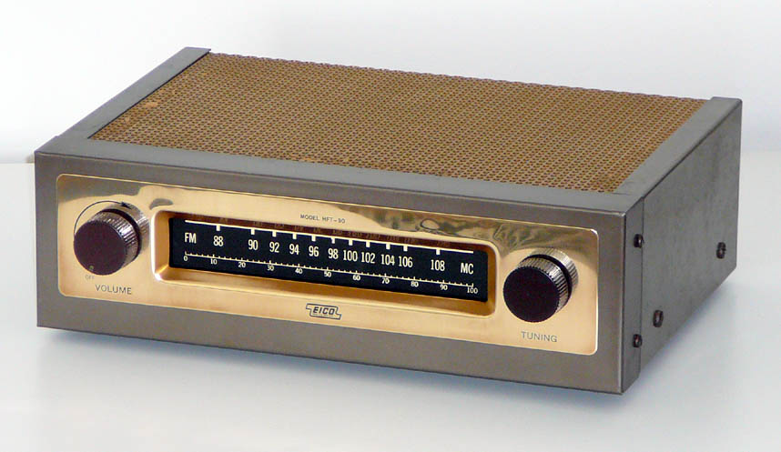 <b>Eico HFT-90</b> (1967) : Figure 46 : This is the matching Eico HFT-90 Monaural FM tuner. Really cool miniature vacuum tube dial pointer that varies the height of its lighted area based on the strength of the received signal. Definitely a unique use of a vacuum tube. Needs a good antenna. :