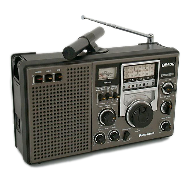 <b>Panasonic RF-2200</b> (1979) : Figure 12 : 8-Band Analog Radio. AM, FM and Shortwave Bands. Ranges from .525-16.1, 3.9-8, 8-12, 12-16, 20-24, 24-28, 88-108 MHz. Crystal calibrators 125 and 500 kHz. :