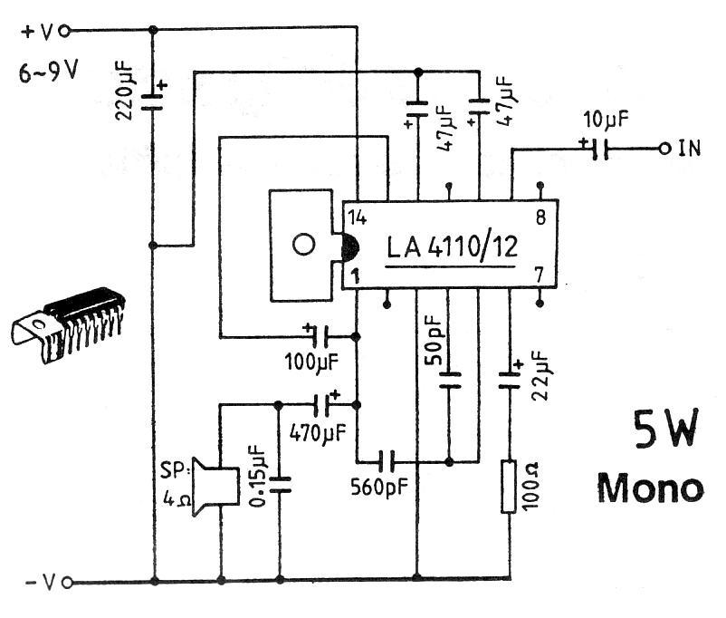 5W 6-9V Mono Amplifier