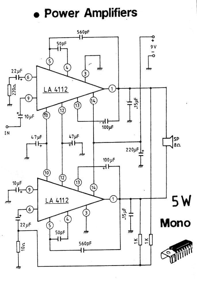 5W 9V Mono Amplifier