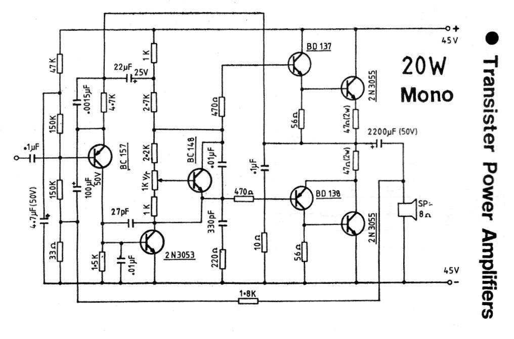 20W Transistor Power Amplifier