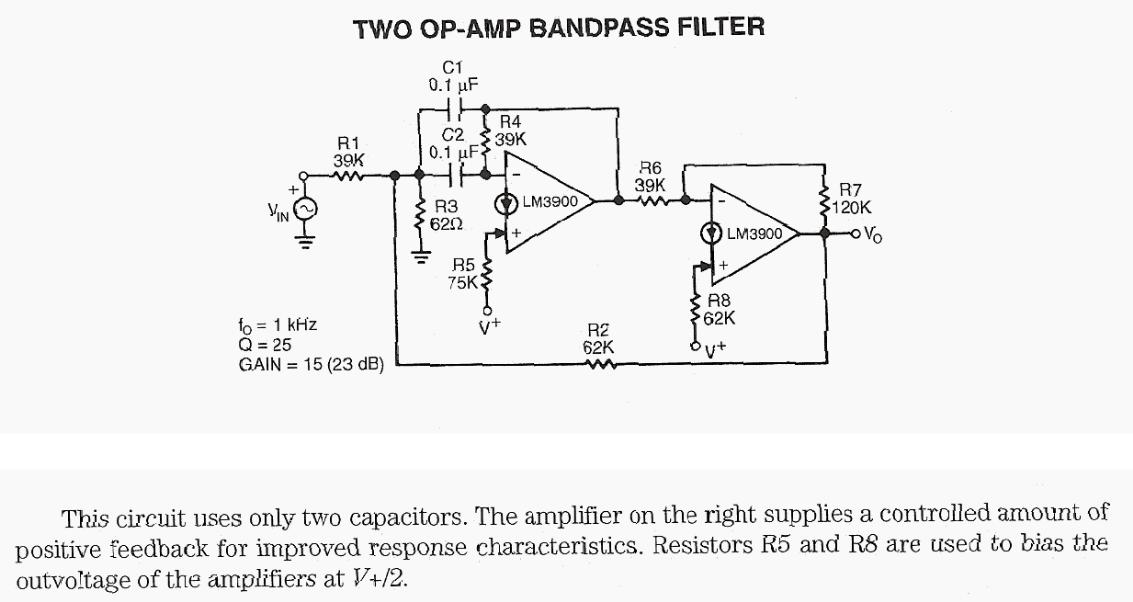 Two OP-AMP Band-pass Filter