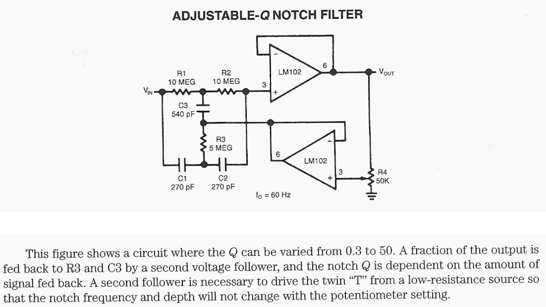 Adjustable Q Notch Filter