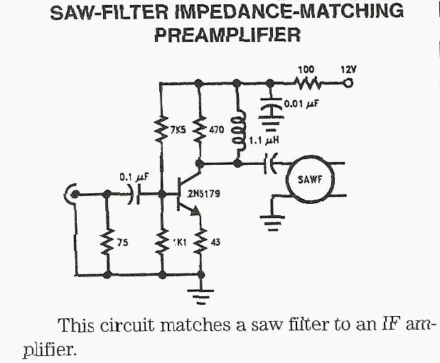 SAW Filter Impedance Matching Preamplifier