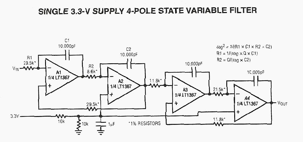 Single 3.3V Supply 4 Pole State Variable Filter