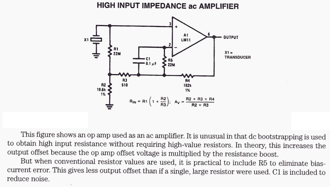 High Input Impedance AC Amplifier
