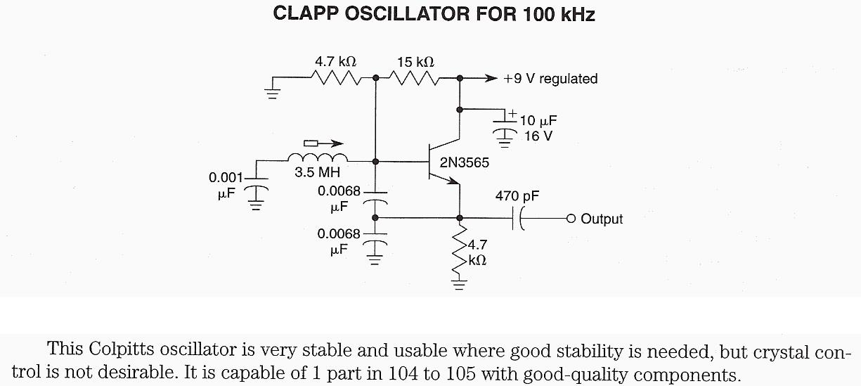 Clapp Oscillator for 100 kHz