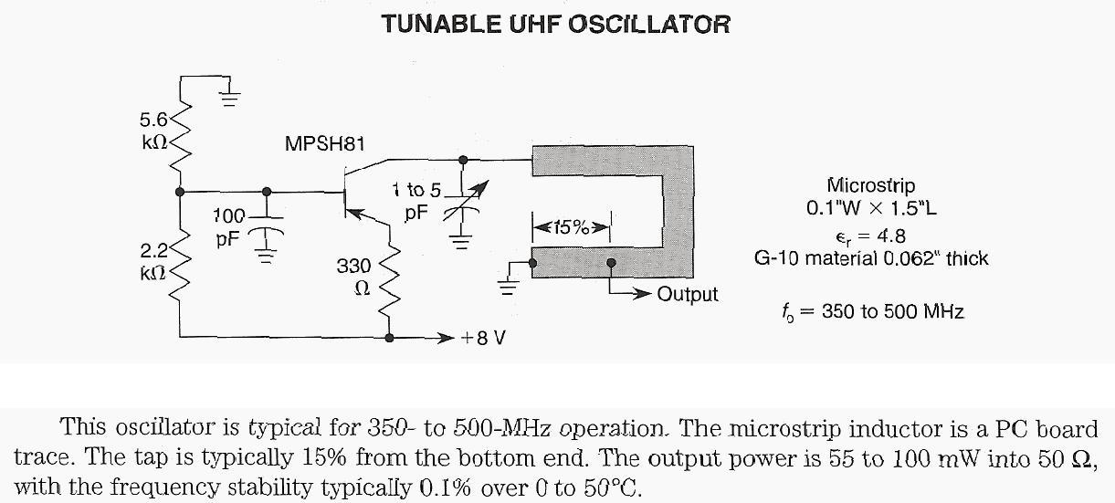Tunable UHF Oscillator