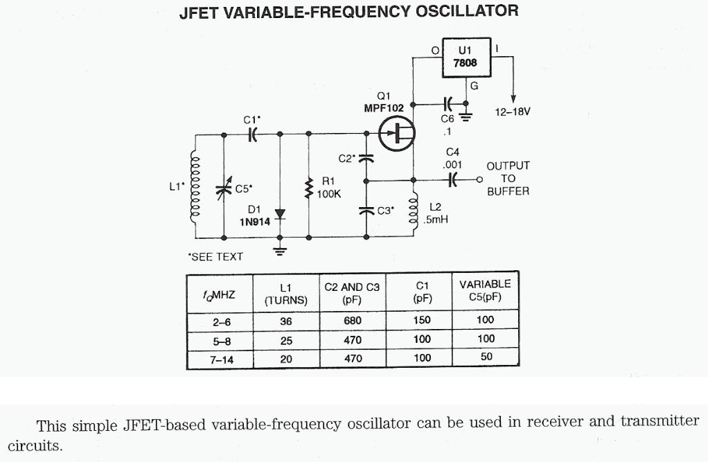 Jfet Variable Freq Oscillator