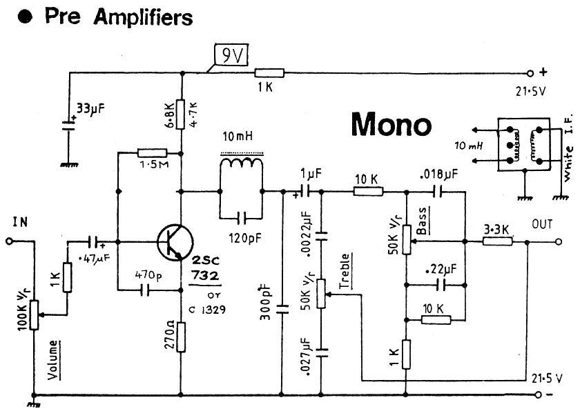 Mono 1 Transistor Preamplifier