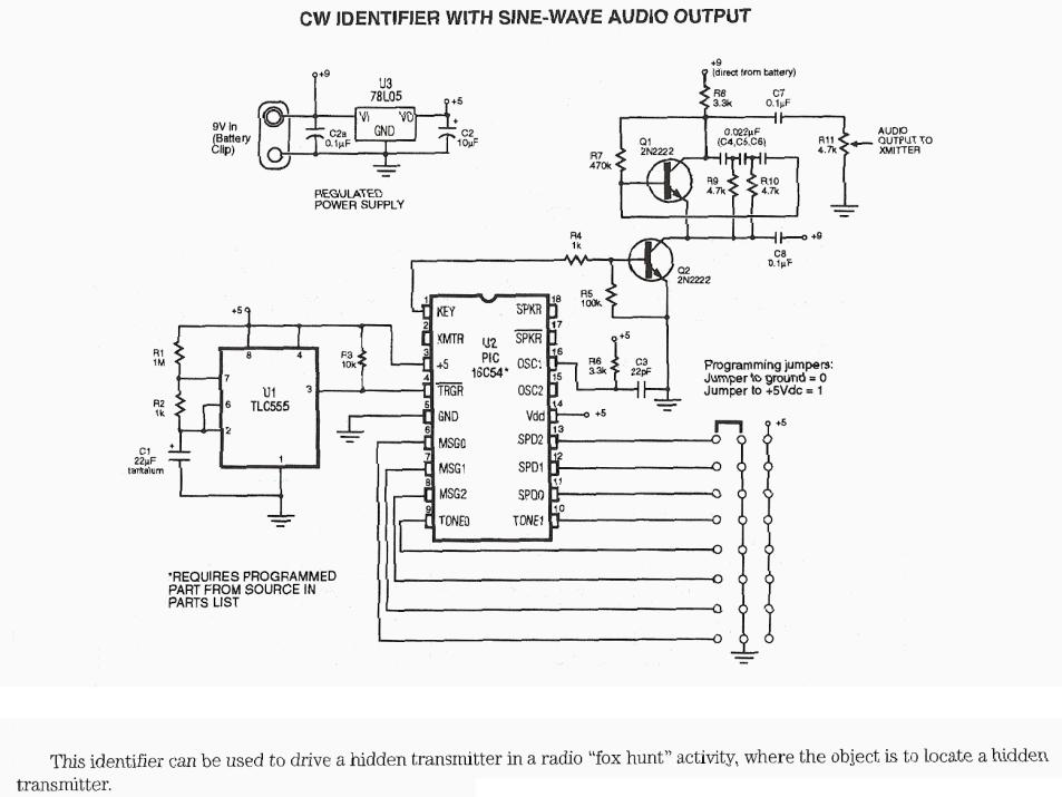 CW Identifier With Sine Wave Audio Output