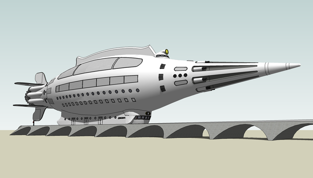 <b>Sketchup 8 MODEL 4</b> (2020) : Figure 121 : 1933 Flash Gordon Rocket with Launch Ramp. :
