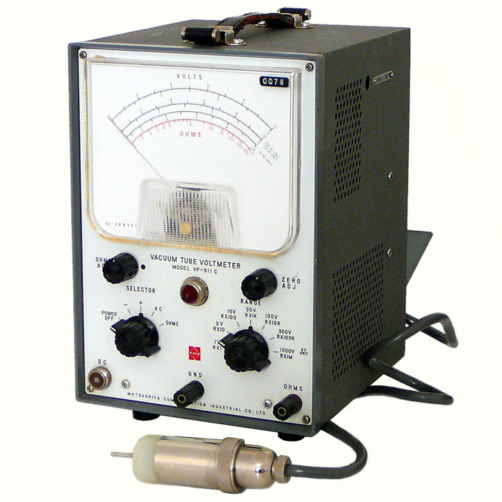 <b>Matsushita Co. VP-911C</b> (1965) : Figure 62 : Vacuum Tube Volt Meter (VTVM) with RF Probe using an Eimac 2-01C UHF tube diode. The best way to directly measure voltage in high impedance circuits. :