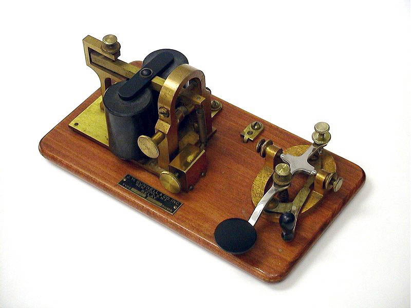 <b>Bunnell Co., J. H. KOB</b> (1910) : Figure 56 : This is an unusually attractive and clean Bunnell key (KOB) with 20-ohm sounder on a base. Works with my other Signal KOB. :
