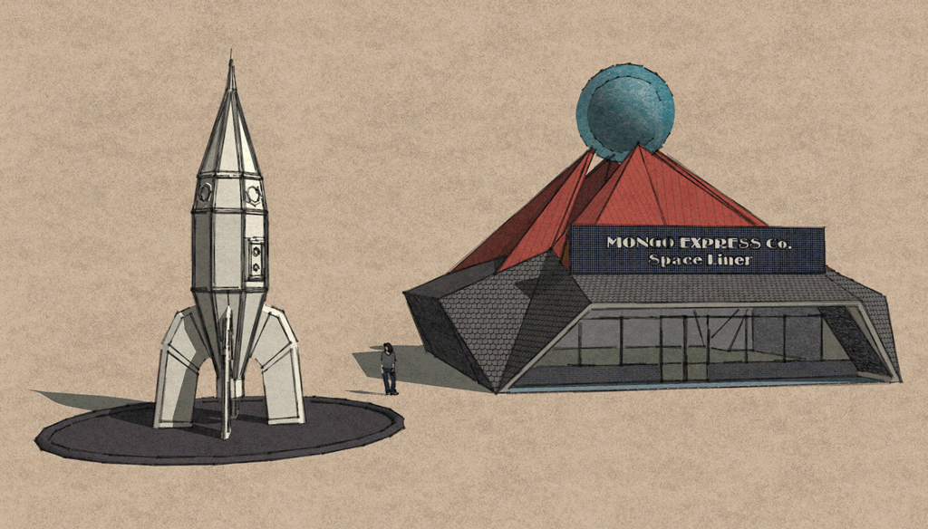 <b>Sketchup 8 MODEL 6</b> (2020) : Figure 126 : Mongo Express Co. Space Liner and Steampunk Rocket :